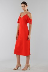 Drexcode - Red off shoulder dress with silver chains - Alexander Wang - Sale - 4
