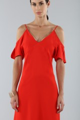 Drexcode - Red off shoulder dress with silver chains - Alexander Wang - Sale - 3