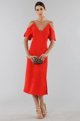 Drexcode - Red off shoulder dress with silver chains - Alexander Wang - Sale - 1