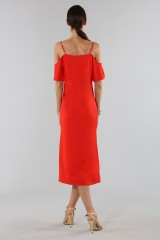 Drexcode - Red off shoulder dress with silver chains - Alexander Wang - Sale - 2
