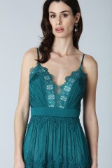 Drexcode - Green dress with lace embroidery and worked neckline  - Catherine Deane - Rent - 4