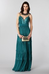 Drexcode - Green dress with lace embroidery and worked neckline  - Catherine Deane - Rent - 3