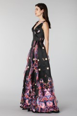 Drexcode - Black silk dress with brocade print - Tube Gallery - Rent - 4