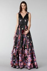 Drexcode - Black silk dress with brocade print - Tube Gallery - Rent - 3