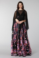 Drexcode - Black silk dress with brocade print - Tube Gallery - Rent - 9
