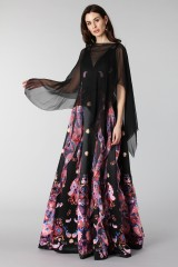 Drexcode - Black silk dress with brocade print - Tube Gallery - Rent - 8