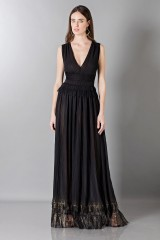 Drexcode - Long black dress with V-neck - Alberta Ferretti - Sale - 1