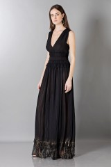 Drexcode - Long black dress with V-neck - Alberta Ferretti - Sale - 5