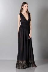Drexcode - Long black dress with V-neck - Alberta Ferretti - Sale - 4