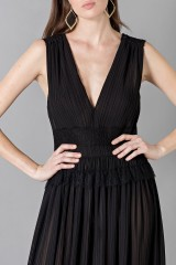 Drexcode - Long black dress with V-neck - Alberta Ferretti - Sale - 6