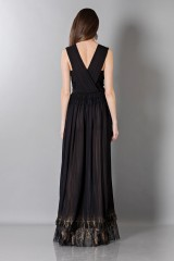 Drexcode - Long black dress with V-neck - Alberta Ferretti - Sale - 2