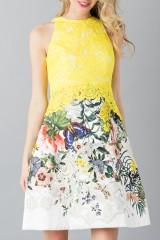 Drexcode - Lace and floreal short dress - Monique Lhuillier - Rent - 6