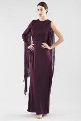 Drexcode - Fringed single-shoulder dress in burungy color  - Emilio Pucci - Rent - 3