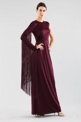 Drexcode - Fringed single-shoulder dress in burungy color  - Emilio Pucci - Rent - 4
