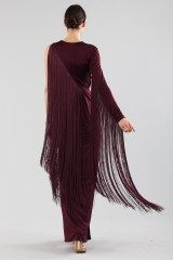 Drexcode - Fringed single-shoulder dress in burungy color  - Emilio Pucci - Rent - 1