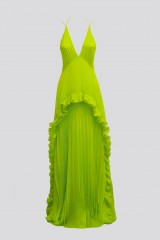 Drexcode - Lime dress with ruffles and back neckline - Halston - Rent - 4