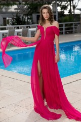 Drexcode - Off-shoulder fuchsia dress with slit - Cristallini - Rent - 10