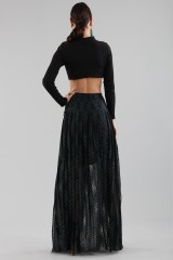 Drexcode - Long checkered skirt with transparencies - Philosophy - Sale - 2