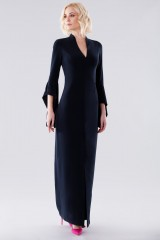 Drexcode - Blue dress with open bell sleeves - Halston - Rent - 3