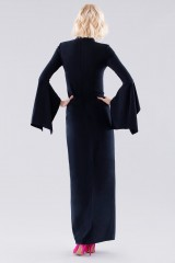Drexcode - Blue dress with open bell sleeves - Halston - Rent - 2