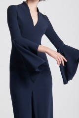 Drexcode - Blue dress with open bell sleeves - Halston - Rent - 5