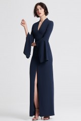 Drexcode - Blue dress with open bell sleeves - Halston - Rent - 4