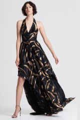 Drexcode - Long dress with golden print - Halston - Rent - 5