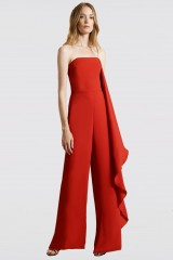 Drexcode - Red bustier jumpsuit - Halston - Rent - 4