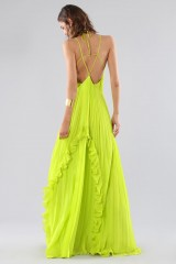 Drexcode - Lime dress with ruffles and back neckline - Halston - Rent - 1