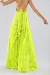 Drexcode - Lime dress with ruffles and back neckline - Halston - Rent - 6