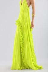 Drexcode - Lime dress with ruffles and back neckline - Halston - Rent - 5