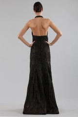 Drexcode - Gold brocade dress with lace - Halston - Rent - 6