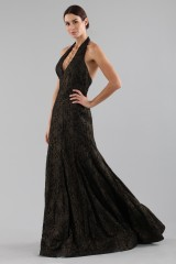 Drexcode - Gold brocade dress with lace - Halston - Rent - 5
