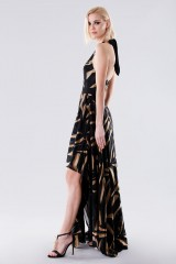 Drexcode - Long dress with golden print - Halston - Rent - 3