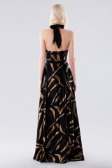 Drexcode - Long dress with golden print - Halston - Rent - 4