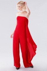 Drexcode - Red bustier jumpsuit - Halston - Rent - 3