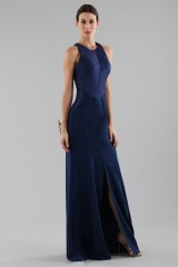 Drexcode - Blue dress with structured top  - Halston - Rent - 4