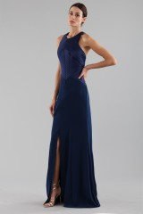 Drexcode - Blue dress with structured top  - Halston - Rent - 3