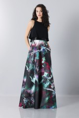 Drexcode - Crop top and floral printed skirt dress  - Theia - Rent - 1