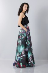 Drexcode - Crop top and floral printed skirt dress  - Theia - Rent - 5