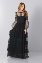 Drexcode - Silk dress with lace inserts and transparencies - Alberta Ferretti - Rent - 3
