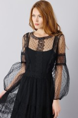 Drexcode - Silk dress with lace inserts and transparencies - Alberta Ferretti - Rent - 9