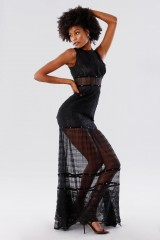 Drexcode - Black lace dress with studs and transparencies - Kathy Heyndels - Rent - 3