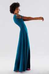 Drexcode - Dark teal dress with applications - Kathy Heyndels - Rent - 2