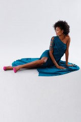 Drexcode - Dark teal dress with applications - Kathy Heyndels - Rent - 5