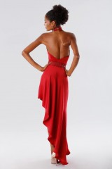 Drexcode - Red asymmetrical dress with transparencies - Kathy Heyndels - Sale - 4