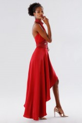 Drexcode - Red asymmetrical dress with transparencies - Kathy Heyndels - Sale - 3