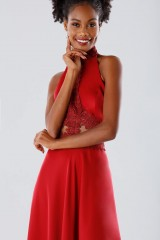 Drexcode - Red asymmetrical dress with transparencies - Kathy Heyndels - Sale - 5