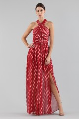 Drexcode - Polka-dot dress with wrap cross lacing at the neck - ML - Monique Lhuillier - Sale - 3