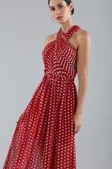 Drexcode - Polka-dot dress with wrap cross lacing at the neck - ML - Monique Lhuillier - Sale - 5